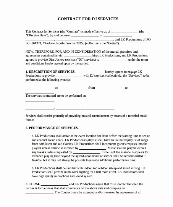 Free Dj Contract Template Best Of 16 Sample Best Dj Contract Templates to Download