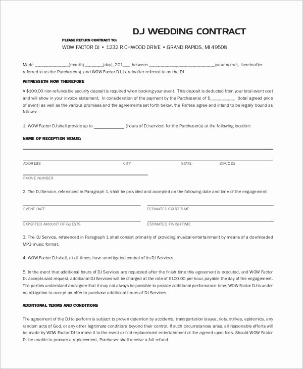 Free Dj Contract Template Elegant 10 Dj Contract Samples