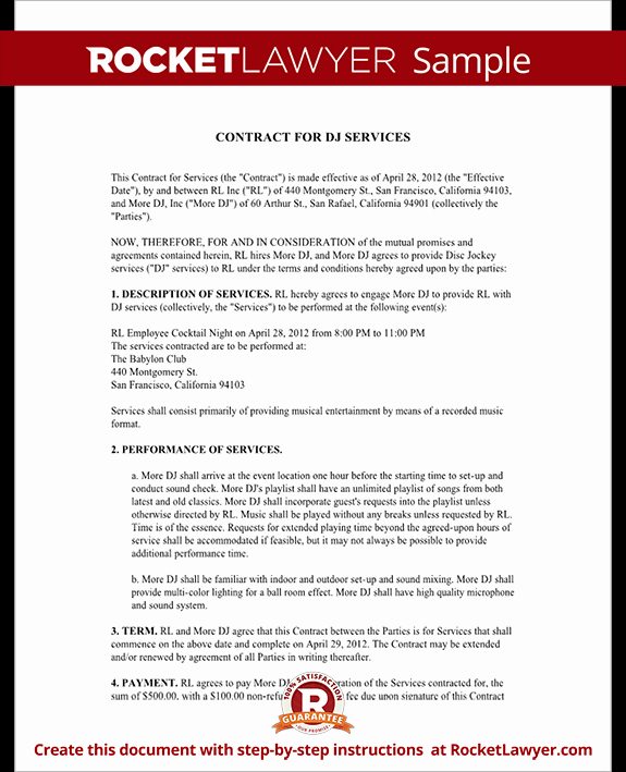 Free Dj Contract Template Fresh Dj Contract Template Dj Agreement with Sample