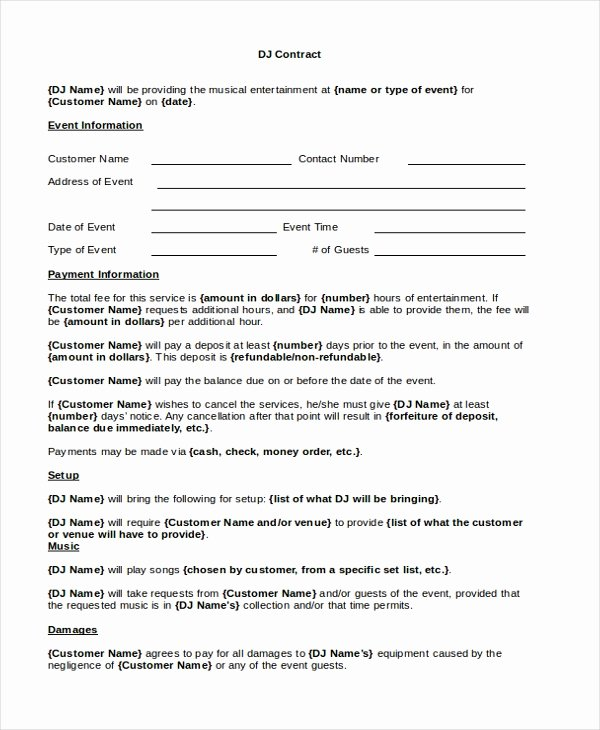 Free Dj Contract Template Fresh Sample Dj Contract form 8 Free Documents In Pdf Doc