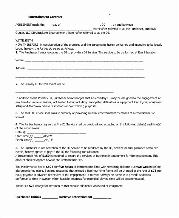 Free Dj Contract Template Inspirational 10 Dj Contract Samples