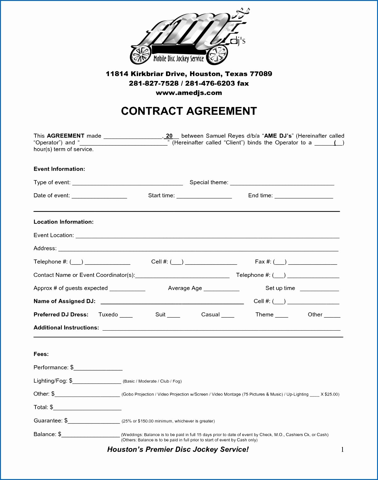 Free Dj Contract Template Inspirational 7 Dj Contracts for Weddings