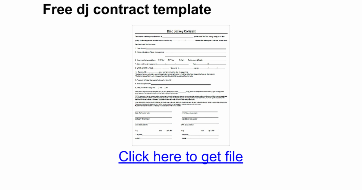 Free Dj Contract Template Inspirational Free Dj Contract Template Google Docs