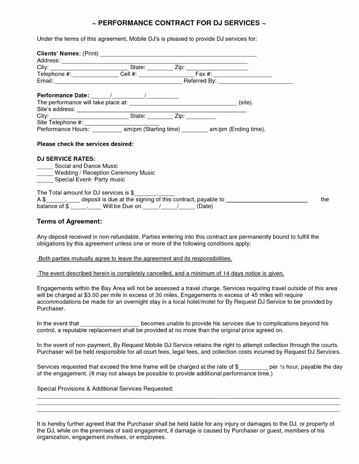 Free Dj Contract Template Inspirational Mobile Dj Contract