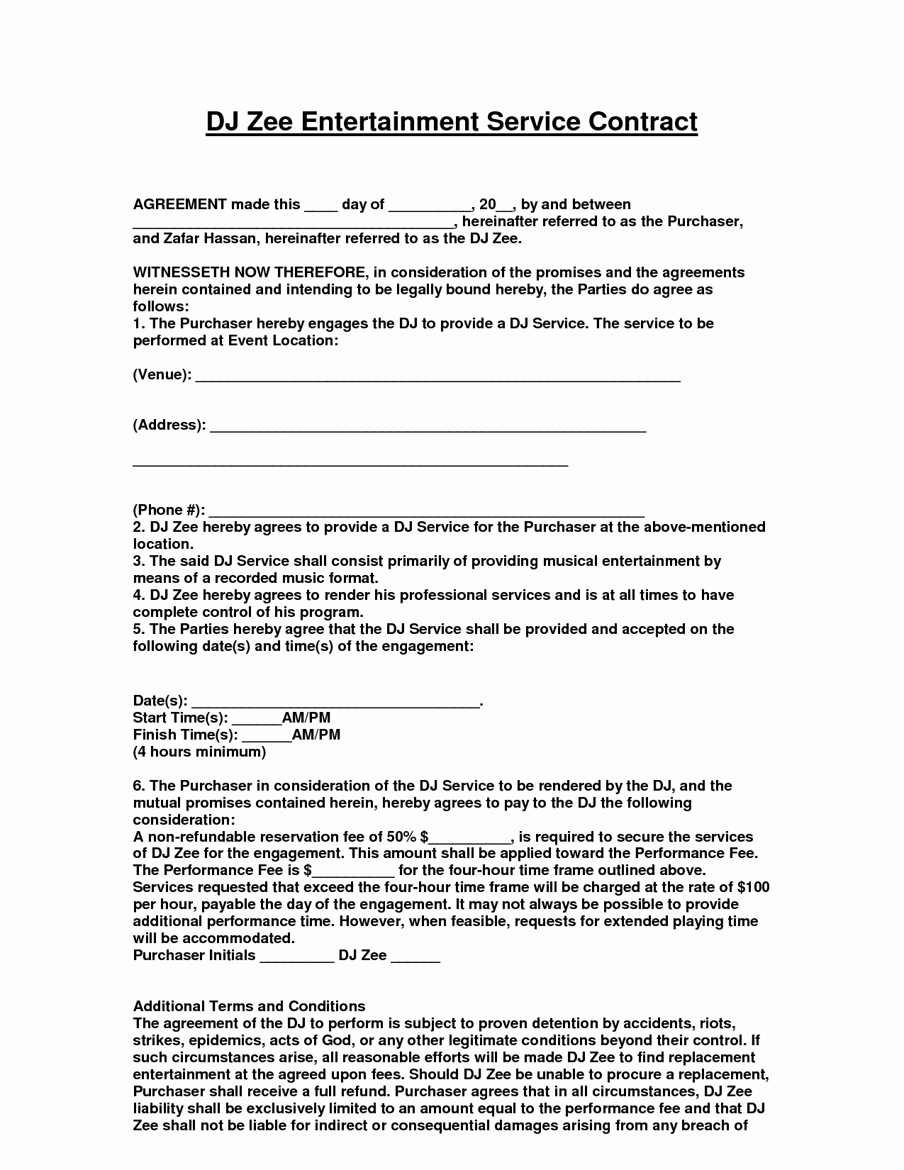 Free Dj Contract Template Lovely Entertainment Contract Agreement Images D J Contracts