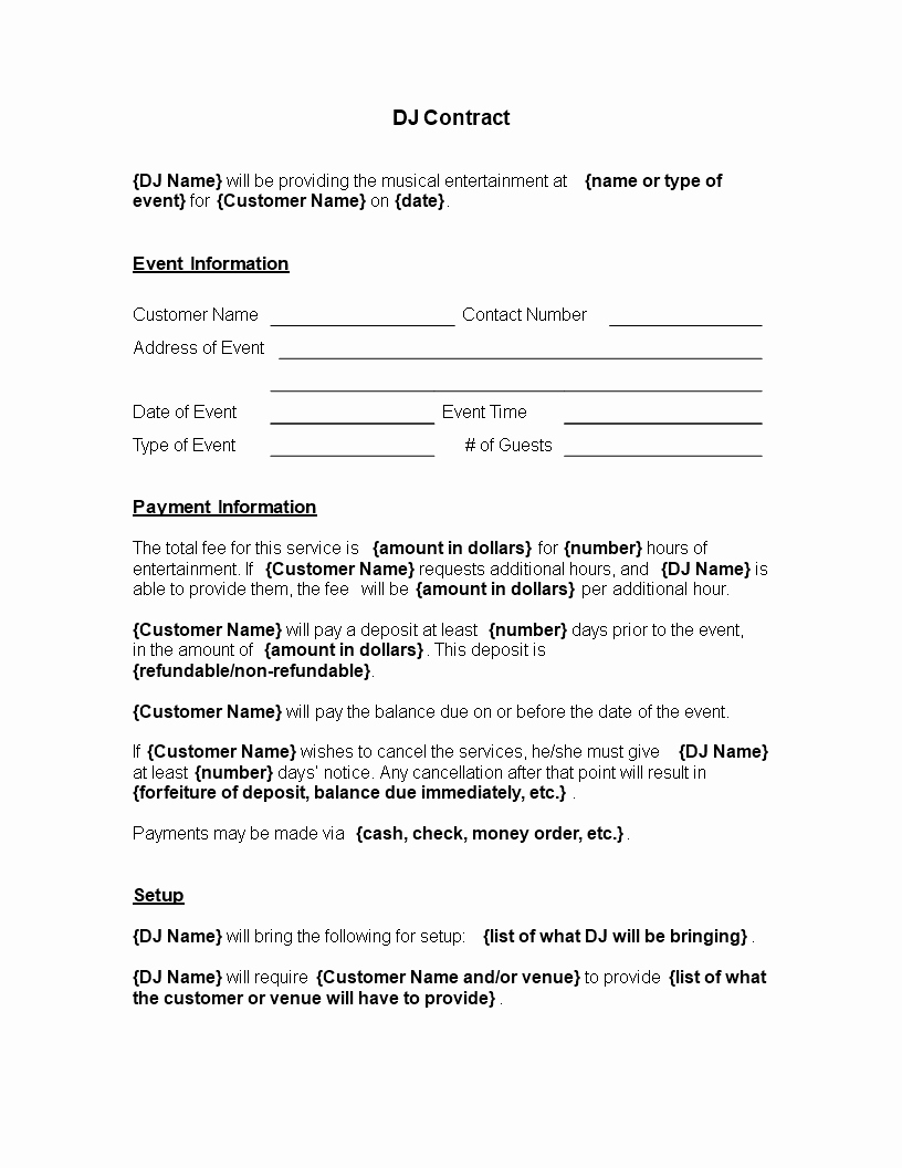 Free Dj Contract Template Luxury Free Printable Dj Contract Template