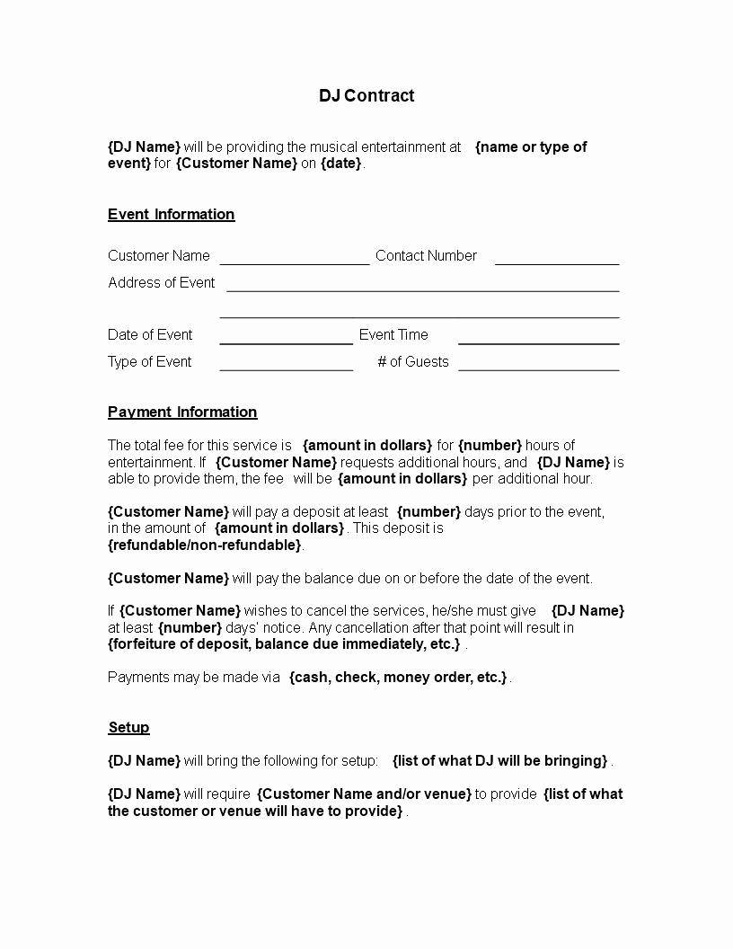 Free Dj Contract Template Luxury Free Printable Dj Contract Template