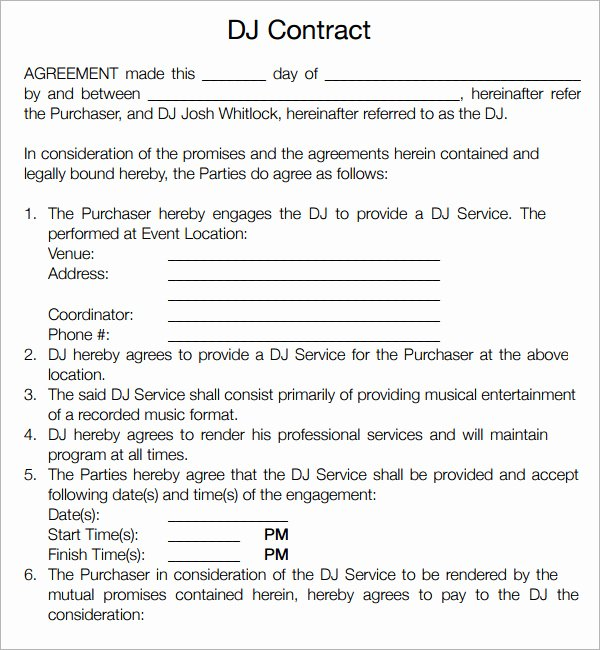 Free Dj Contract Template New 16 Sample Best Dj Contract Templates to Download