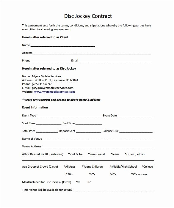 Free Dj Contract Template New Dj Contract 12 Download Documents In Pdf
