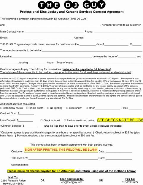 Free Dj Contract Template Unique Download Dj Contract Template for Free formtemplate
