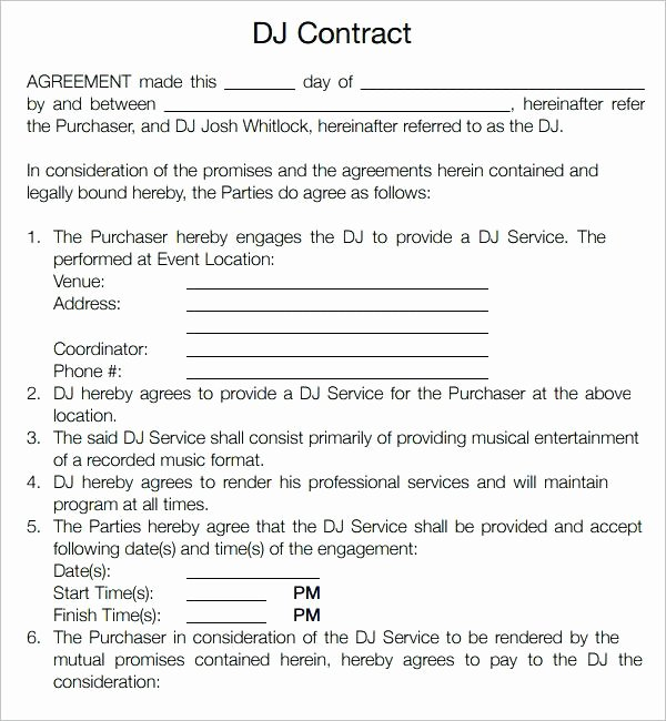 Free Dj Contract Template Unique Mobile Dj Contract Template – Miyamufo