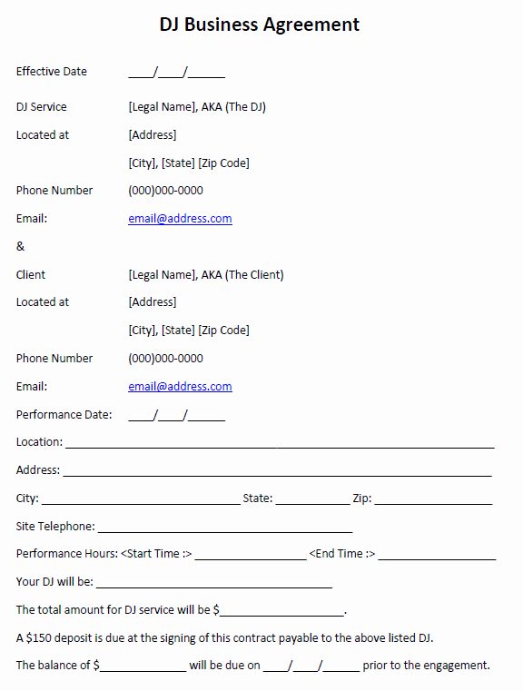 Free Dj Contract Template Unique Mobile Dj Contract Template New Free Printable Invoice