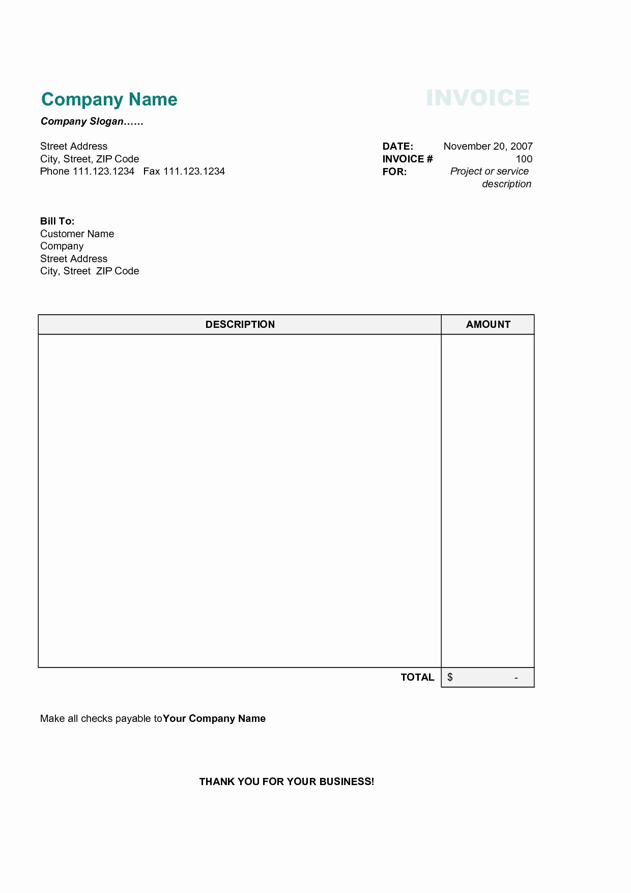 Free Downloadable Invoice Template Beautiful Simple Invoice Template