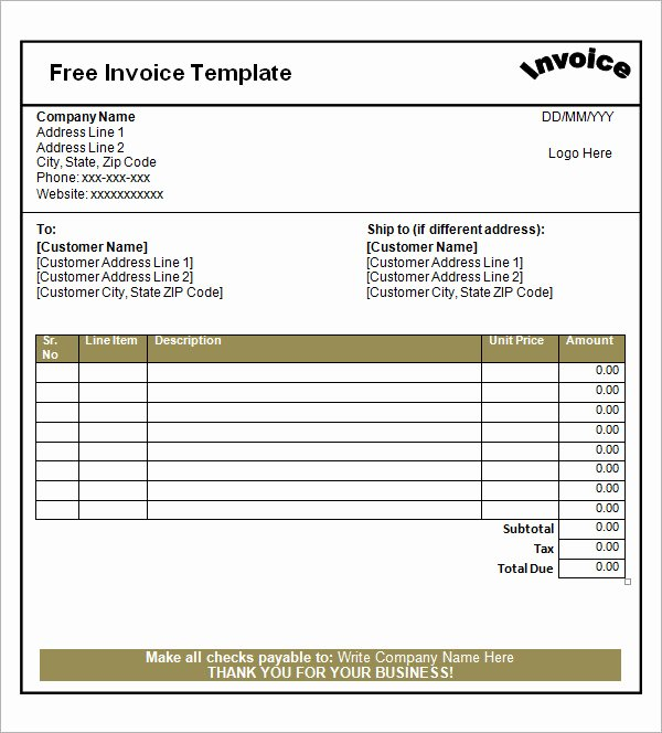 Free Downloadable Invoice Template New 53 Blank Invoice Template Word Google Docs Google Sheets