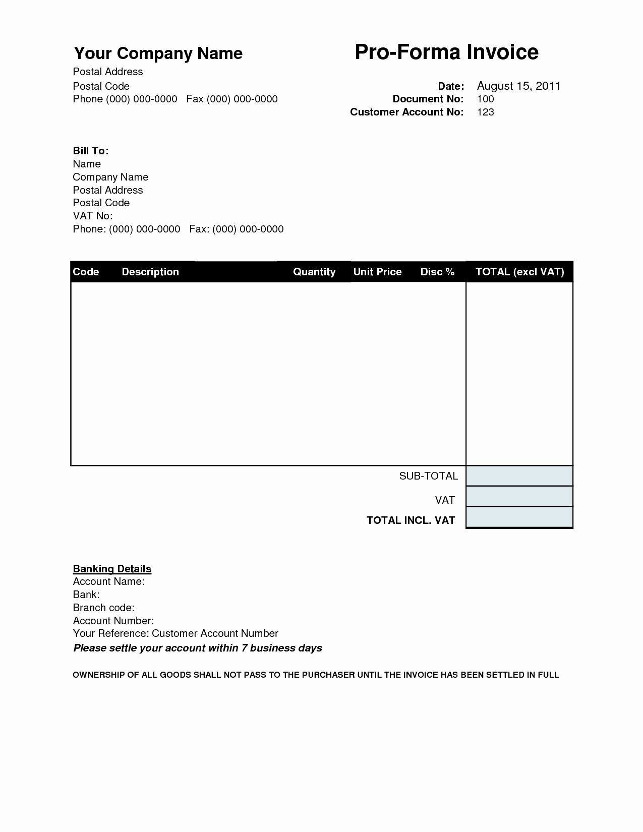 Free Downloadable Invoice Template Unique Proforma Invoice Template Download Free Invoice Template