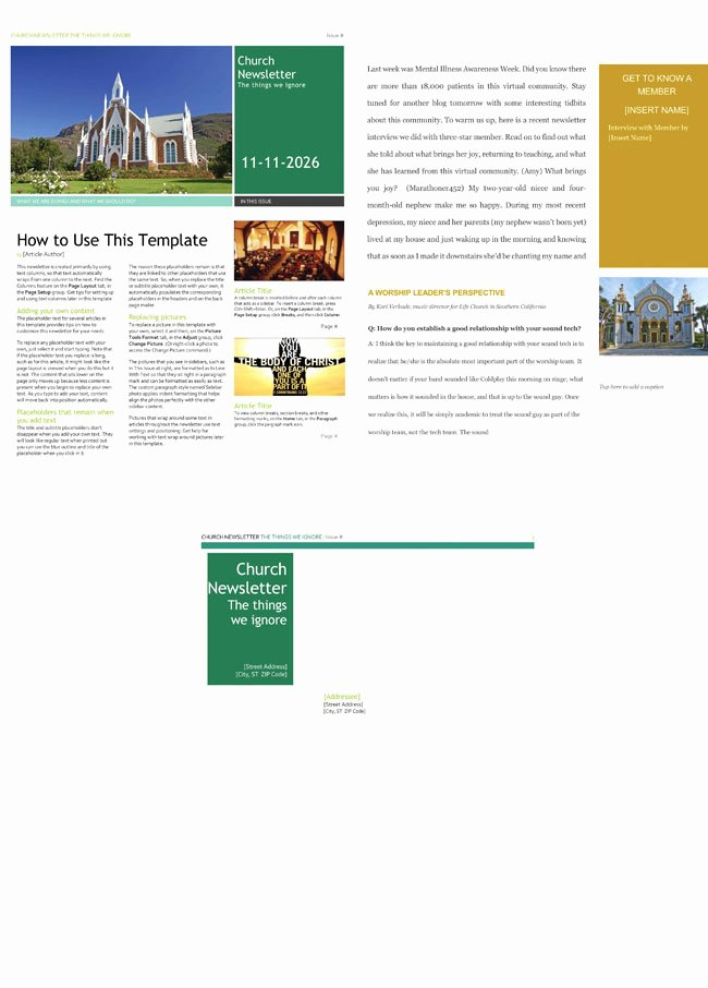 Free Downloadable Newsletter Template Fresh Free Church Newsletter Templates Editable In Microsoft Word