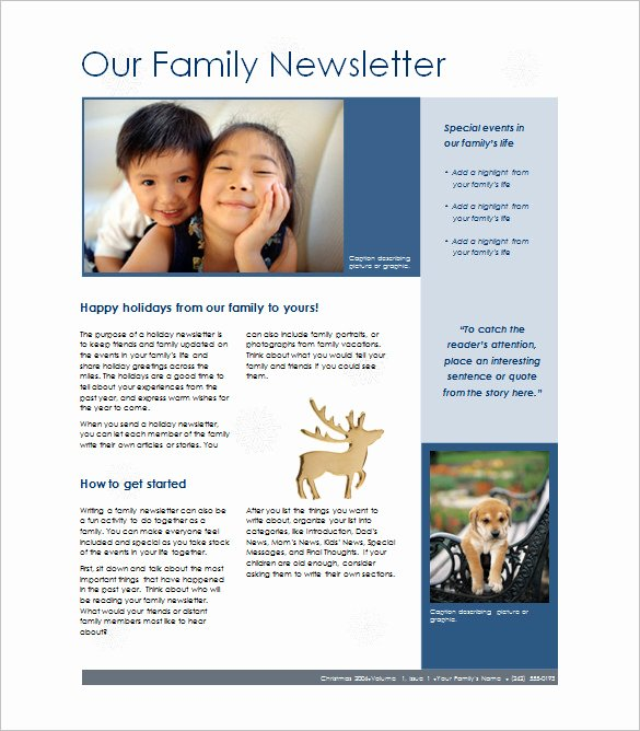 Free Downloadable Newsletter Template Inspirational 7 Family Newsletter Templates – Free Word Documents