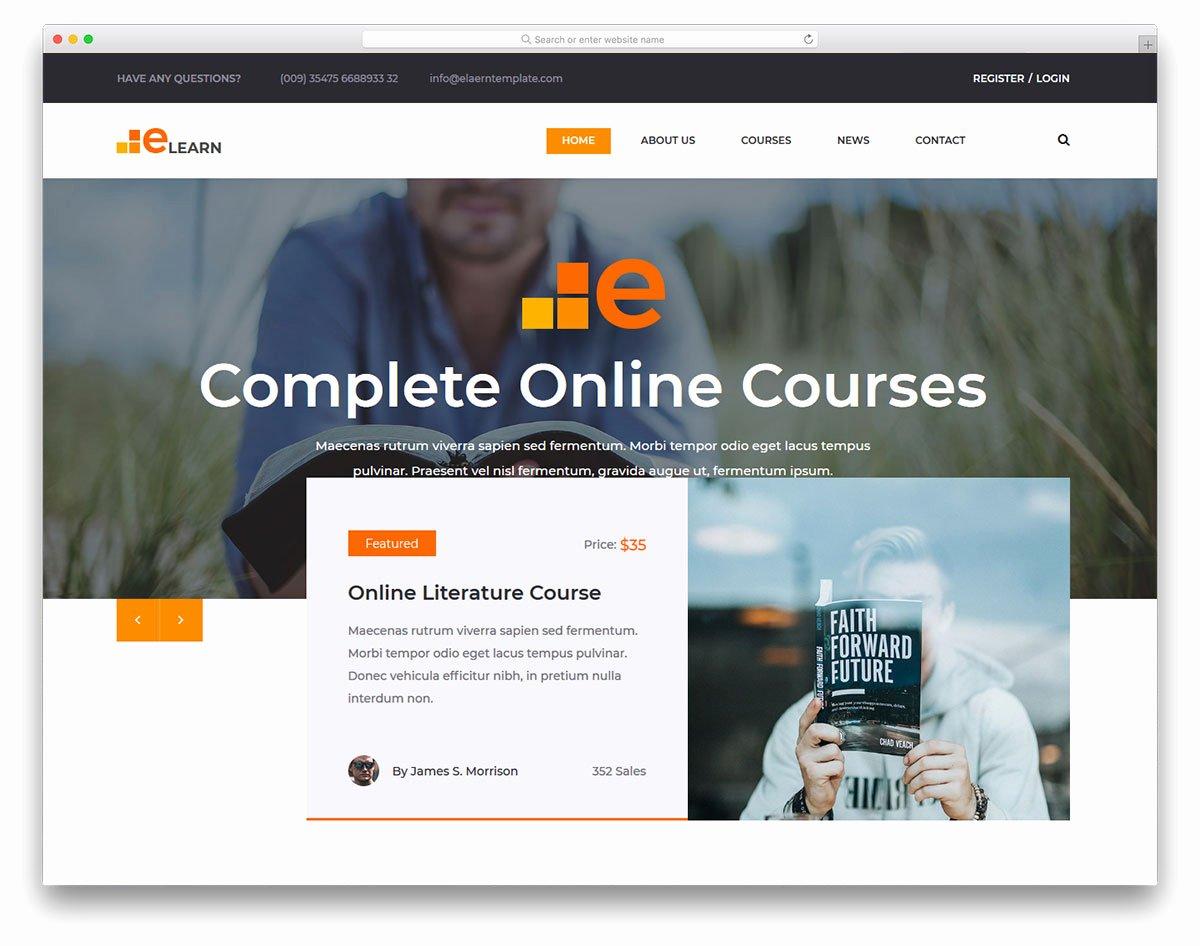 Free Education Website Template Beautiful Elearn Free Line Education Website Template 2018