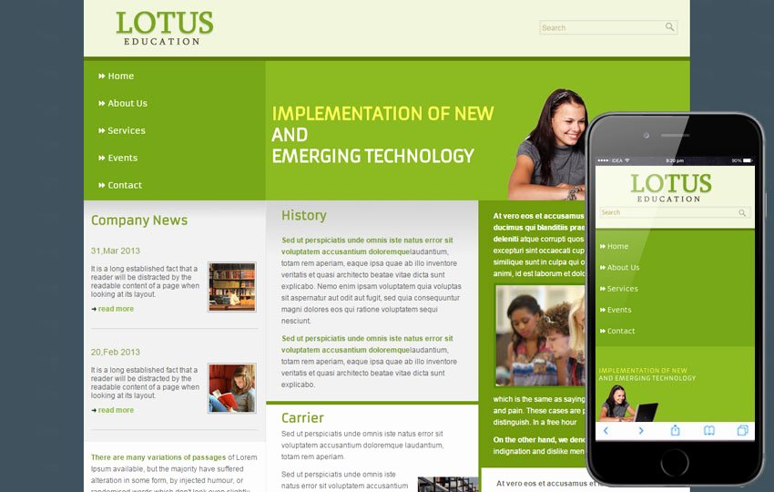 Free Education Website Template Best Of Free Lotus Education Web Template Mobile Website Template