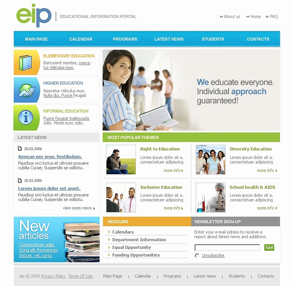 Free Educational Web Template Awesome Education Website Template