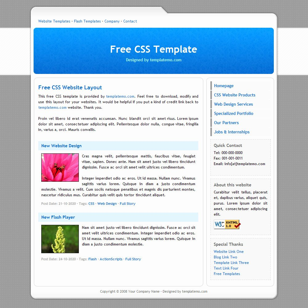 Free Educational Web Template Best Of 007 Simple Blue Template
