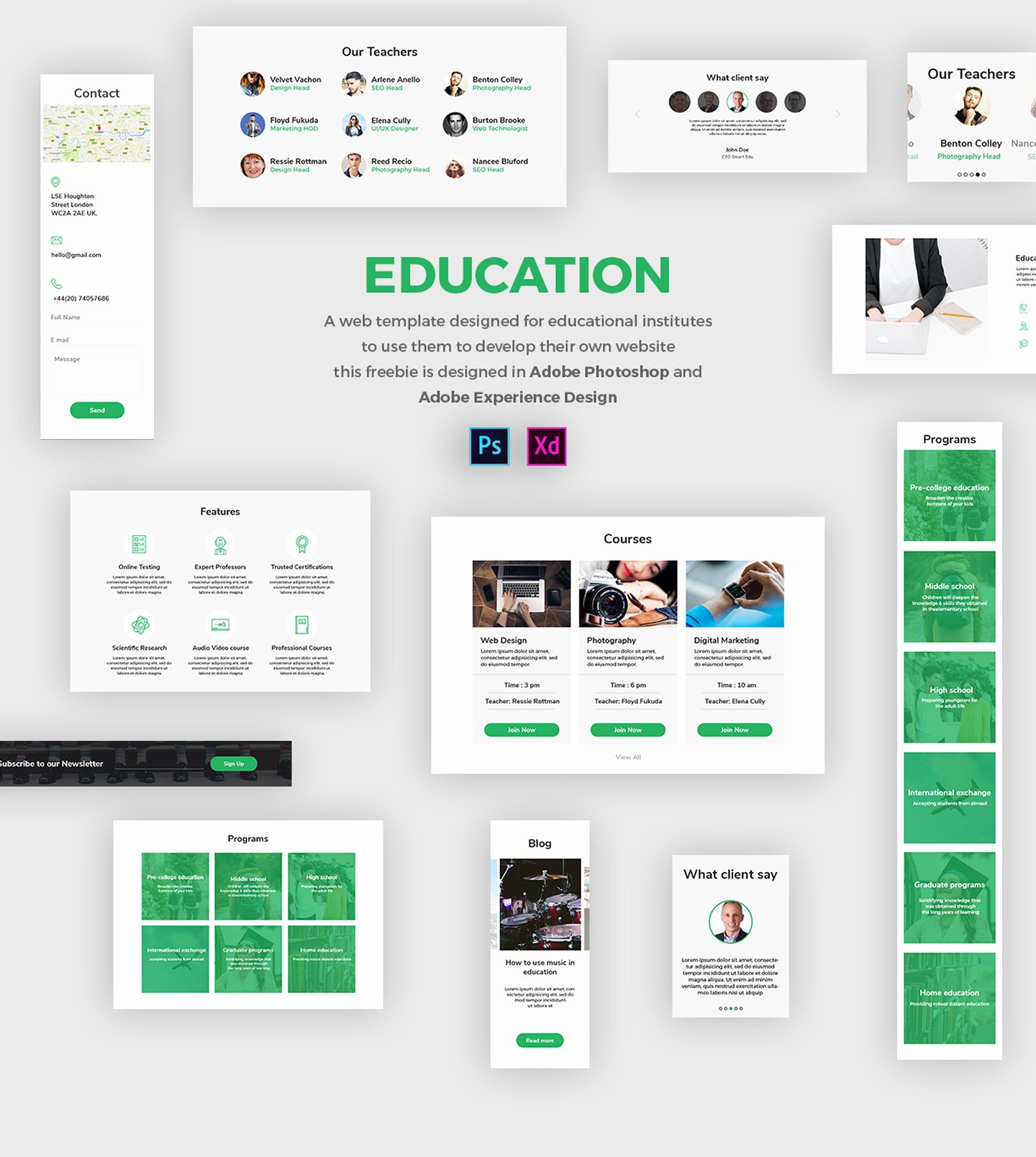 Free Educational Web Template Elegant Education Web Template Free Ui Kit In Psd and Adobe Xd