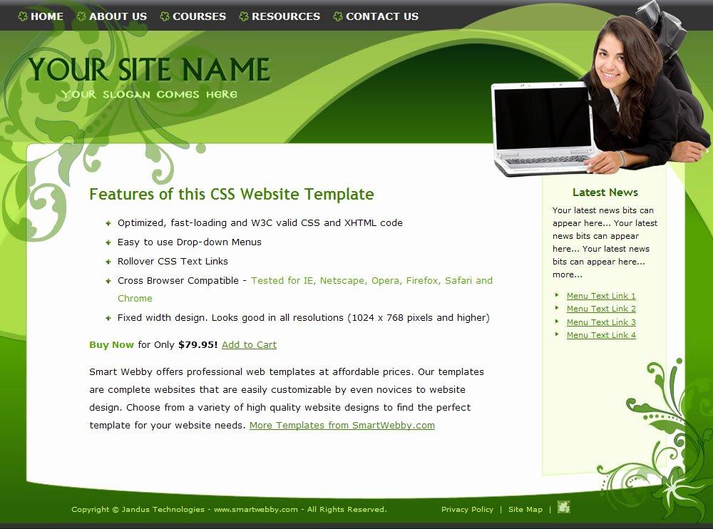 Free Educational Web Template Elegant Go Green Elegant Template