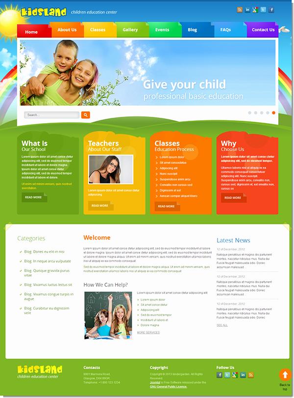 Free Educational Web Template Elegant Kids Land Children Education Center Joomla Template On Behance