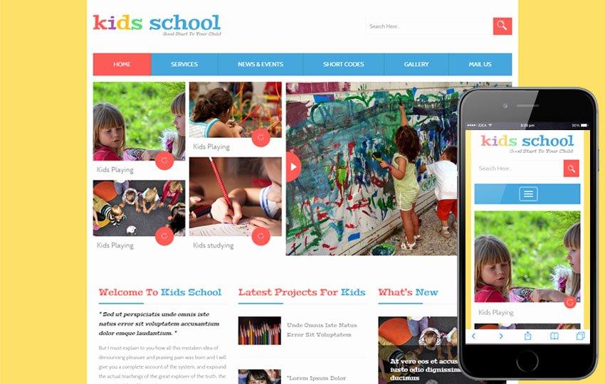 Free Educational Web Template Elegant Kids School A Education Flat Bootstrap Responsive Web Template