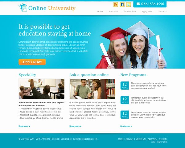 Free Educational Web Template New Online University Website Design 006