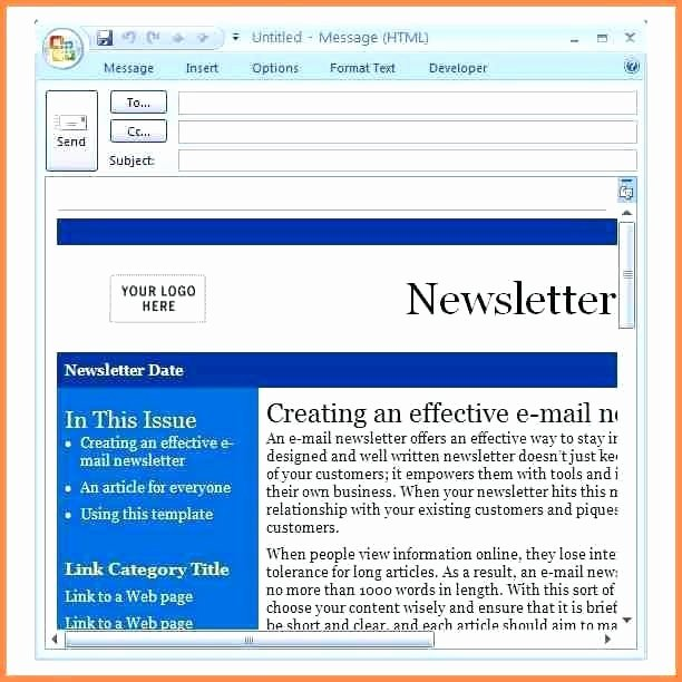 Free Email Template for Outlook New Email Newsletter Templates for Outlook Microsoft Outlook