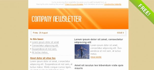 Free Email Template Psd Elegant orange Email Marketing Newsletter Template Psd File
