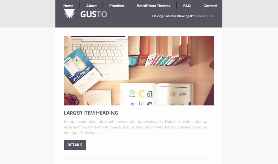 Free Email Template Psd Lovely Gusto Email Template Free Psd