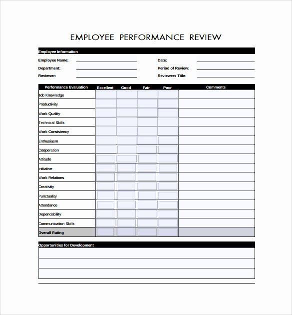 Free Employee Evaluation form Template Beautiful 6 Employee Review forms to Download