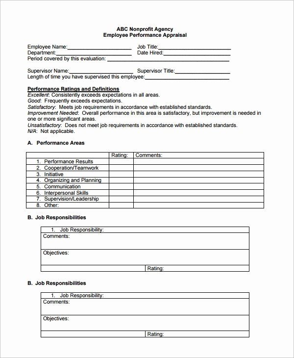 Free Employee Evaluation form Template Elegant 9 Employee Performance Review Templates