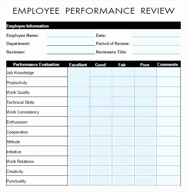 Free Employee Evaluation form Template Inspirational Employee Performance Review form Evaluation Free Download
