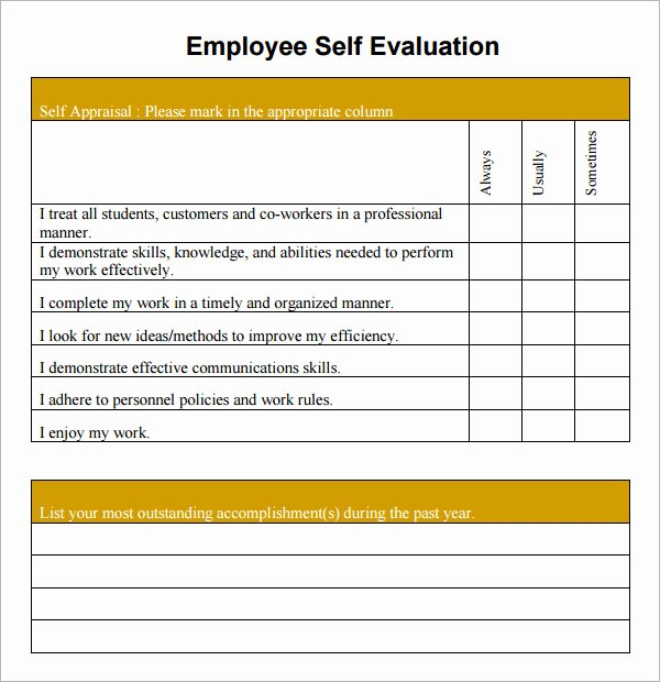 Free Employee Evaluation form Template Lovely 16 Sample Employee Self Evaluation form Pdf Word Pages