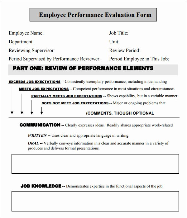 Free Employee Evaluation form Template Lovely Employee Evaluation form 16 Download Free Documents In Pdf