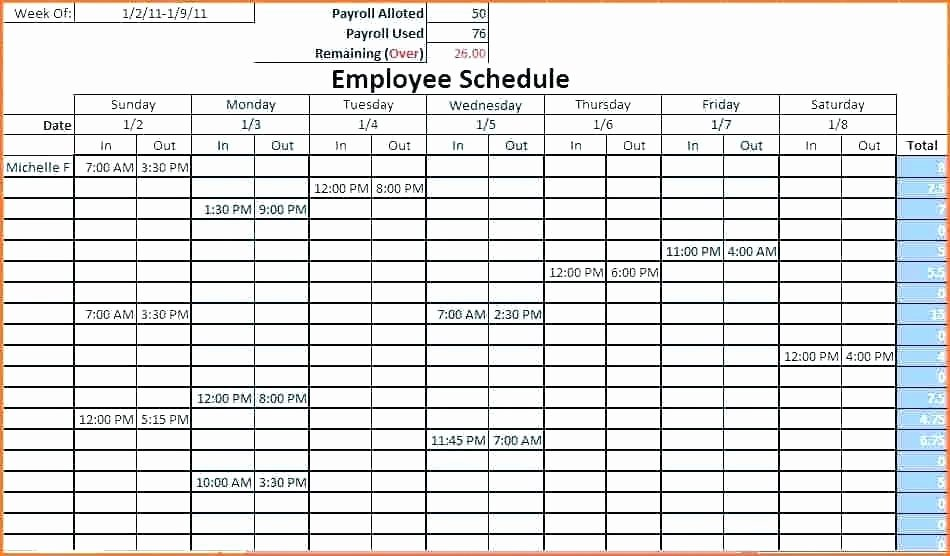 Free Employee Schedule Template Awesome Employee Work Schedule Template Free Word Excel format