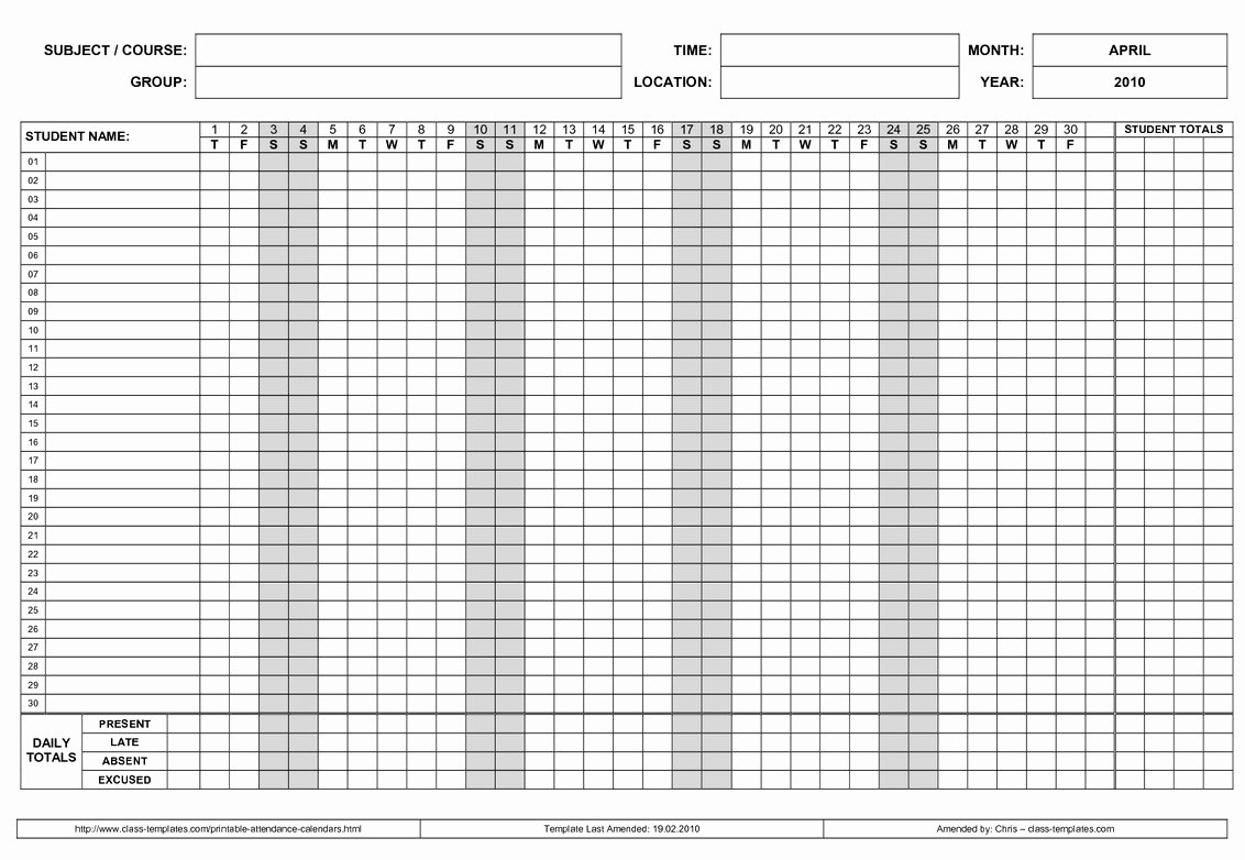 Free Employee Schedule Template Best Of Free Employee attendance Calendar