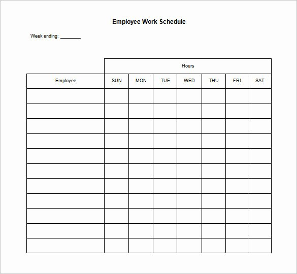 Free Employee Schedule Template Fresh 17 Blank Work Schedule Templates Pdf Doc
