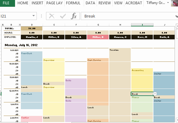Free Employee Schedule Template Lovely Employee Schedule & Hourly Increment Template for Excel