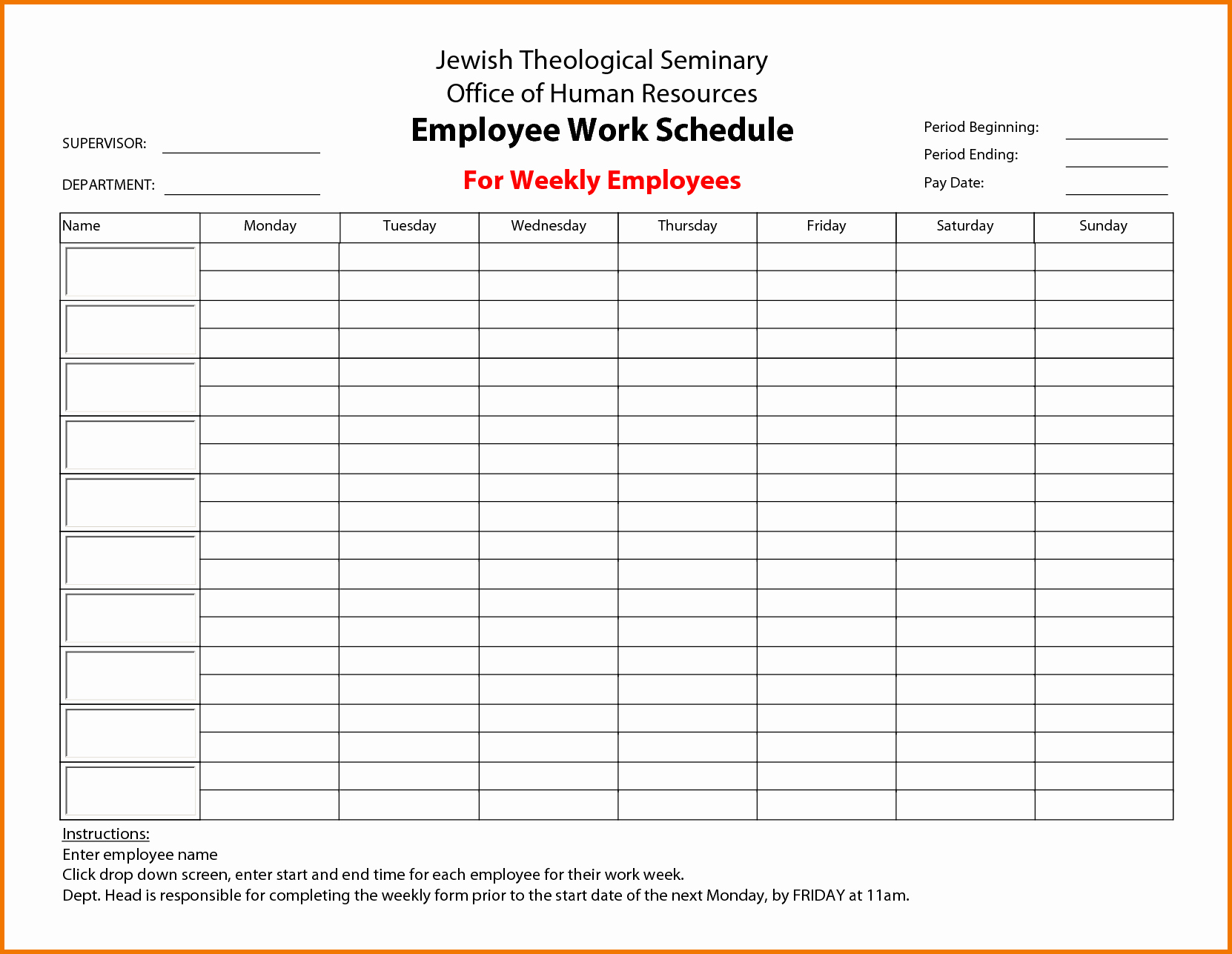 "Free Employee Schedule Template New Search Results for ""a 6 Week Calendar Template"" – Calendar"