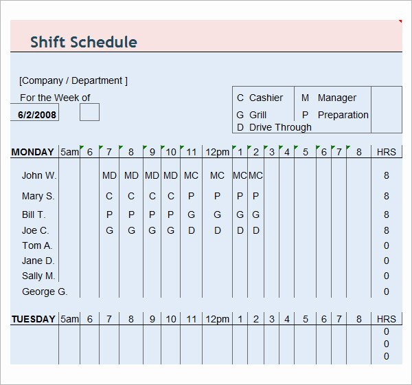 Free Employee Schedule Template Unique 13 Employee Schedule Samples