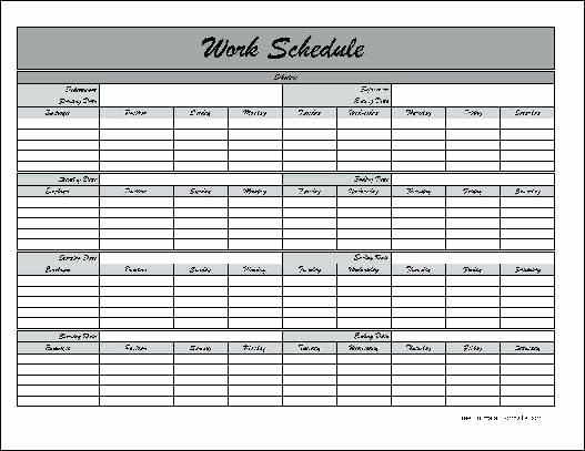 Free Employee Work Schedule Template Best Of Free Printable Work Schedule Template – Psychicnights