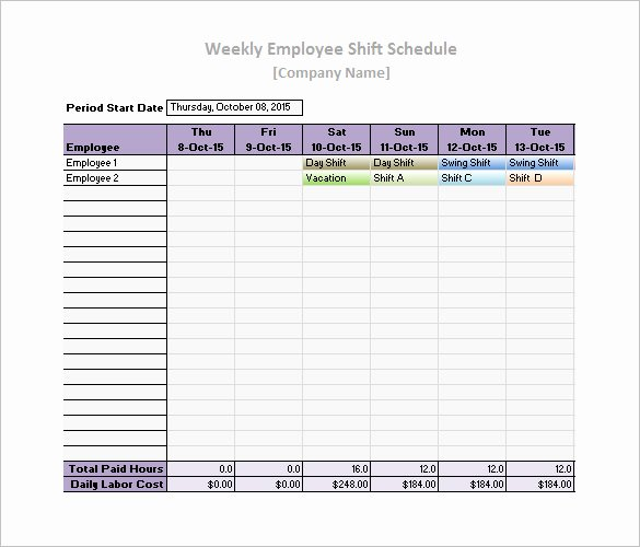 Free Employee Work Schedule Template Lovely Work Schedule Templates – 9 Free Word Excel Pdf format