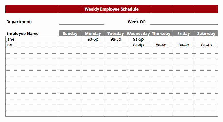 Free Employee Work Schedule Template New Employee Work Schedule Template