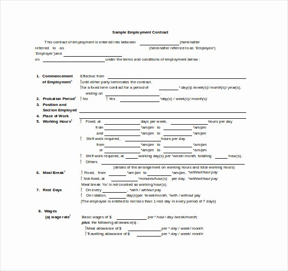 Free Employment Contract Template Word Awesome Contract Template – 24 Free Word Excel Pdf Documents