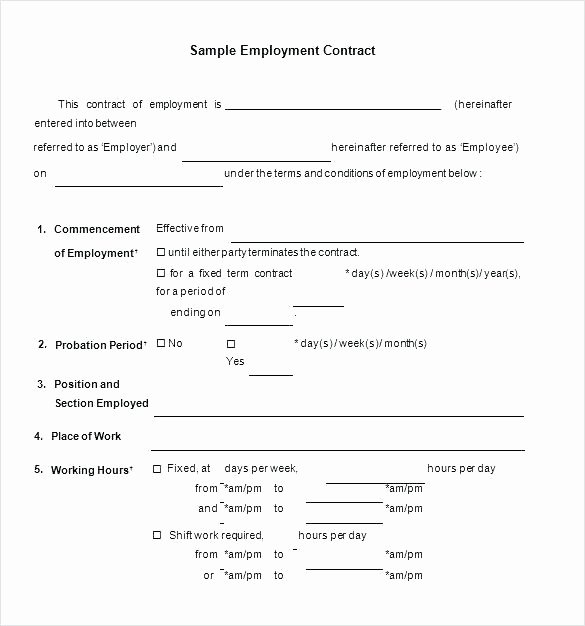 Free Employment Contract Template Word Best Of Live In Caregiver Contract Template – Gocreator