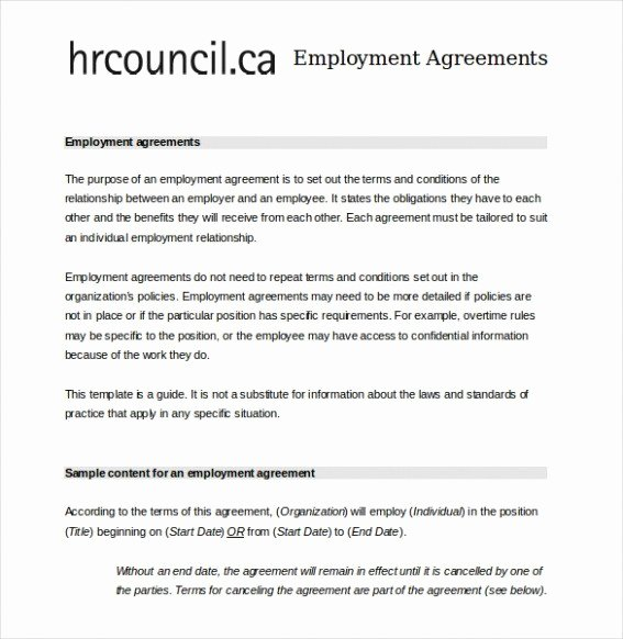 Free Employment Contract Template Word Elegant Employment Contract Template Word Image – Employment
